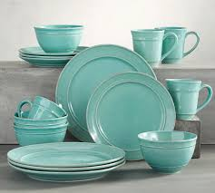 cambria 16 dinnerware set in turquoise blue everything