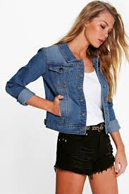 Light Jean Jacket Alex Light Blue Cropped Denim Jacket Boohoo
