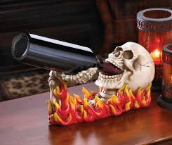 flaming skull wine holder wholesale at eastwind wholesale gift