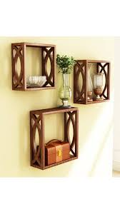buy home store brown wooden wall shelf of wall decor at low