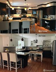 painting kitchen cabinets espresso before and after just paint the top kitchen cabinets tuesday s treasures