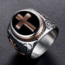 cross rings images Eejart men 39 s stainless steel christian holy cross ring hand of god jpg