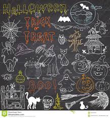 halloween skull background sketch of halloween design elements with punpkin witch black cat