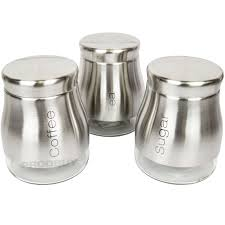 brushed stainless steel glass tea coffee sugar storage jars