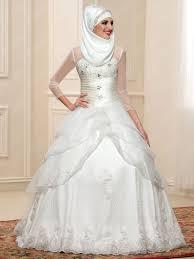 muslim wedding dresses fashion beading sleeves high neck a line zipper up muslim