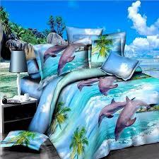 Duvet Comforter Set Dolphin Print Queen Size 3d Bedding Comforter Set 4 Piece Duvet