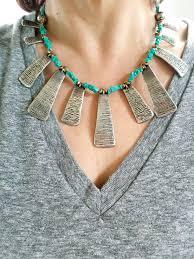 boho bib necklace images Turquoise and silver fan necklace boho statement piece bib jpg