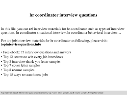 Sample Resume For Hr Coordinator Hr Coordinator Interview Questions