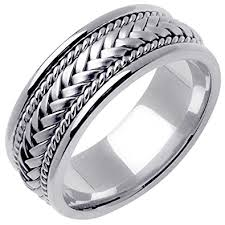 Mens 8mm White Gold Comfort Fit Wedding Band 14k White Gold Braided Basket Weave Men U0027s Comfort Fit Wedding Band