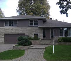 exterior modern brick paint house design with yard plan gray