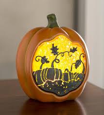 orange illuminated resin pumpkin halloween decorations a