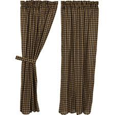 Black Check Curtains Rustic Primitive Checked Curtains Drapes Valances Ebay