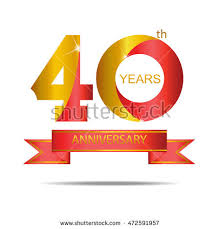 40th anniversary color template logo 40th anniversary gold stock vector 2018