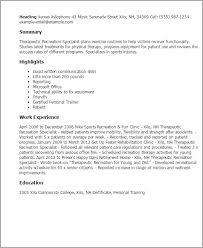 Resume Examples For Physical Therapist by Professional Therapeutic Recreation Specialist Templates To