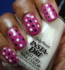 unbitten polish pink wednesday polka dot nail art design