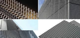 Outdoor Mesh Curtains Steel Aluminum Or Copper Expanded Architectural Mesh For Cladding