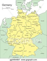 map of countries surrounding germany vector clipart germany with administrative districts and