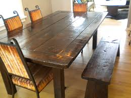 rustic wood dining table with bench home decorating interior