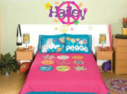 peace sign decal girl name wall decal retro flowers set peace zoom
