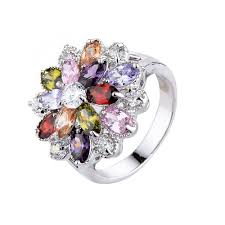 color stone rings images Buy vintage style triple layered multi color cz jpg