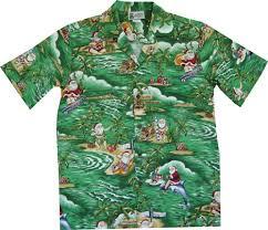 santa in hawaii men u0027s christmas hawaiian shirt