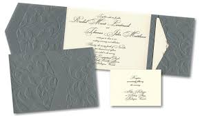 wedding pocket invitations embossed vines pocket wedding invitation