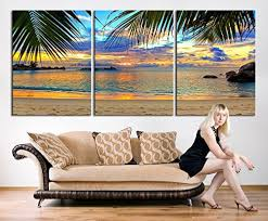 amazon com tanda extra large wall art palm and beach canvas print amazon com tanda extra large wall art palm and beach canvas print 3 panel large canvas print tropical beach tropical island canvas 20 inch each panel 60