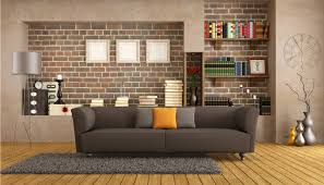 creative living room living room creative stone wall living room design with grey fur