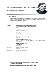 Resume Sample Format Philippines by Rizal Cv Ophthalmology Philippines Resume Template 15014 Splixioo