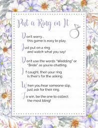 what do you put on a bridal shower registry put a ring on it bridal shower sign purple floral wedding
