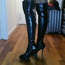 womens thigh high boots size 12 60 pleaser shoes s size 12 med pleaser thigh high