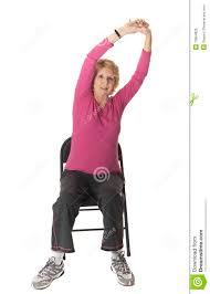 Chair Exercises For Seniors Senior Woman Doing Stretch Exercise In Chair Stock Photo Image
