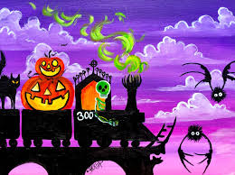 halloween paintings ideas spooky train fully guided step by step acrylic painting tutorial