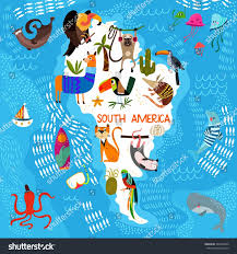 World Map Of South America by Cartoon World Map Traditional Animals Illustrated Stock Vector