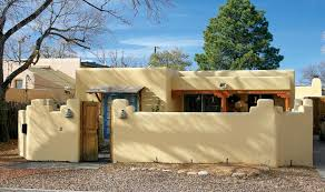 pueblo revival houses in santa fe stucco walls adobe and modern