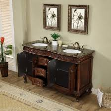 Antique Vanity With Mirror 60 Inch Antique Style Double Sink Bathroom Vanity Cabinet With
