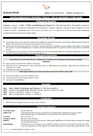 Free Marketing Resume Templates Sle Resume Format For Mba Marketing Fresher Create
