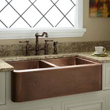 DoubleBowl Hammered Copper Farmhouse Sink Kitchen - Farmhouse double bowl kitchen sink
