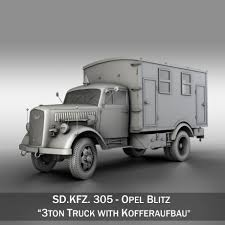 opel blitz opel blitz 3t truck with kofferaufbau 3d model cgstudio
