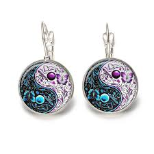taiji yinyang design clip earrings butterfly flower