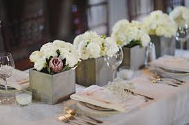 Small Flower Vases Centerpieces White Flower Arrangements In Square Slate Vases Elizabeth Anne