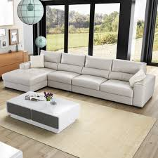 top grade latest l shaped sofa designs leather material padded