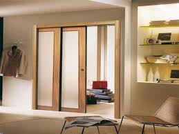 Replacing Wood Paneling Modern Design For Wooden Double Sliding Pocket Door With Frosted