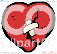 cartoon of a broken heart with bandage royalty free vector