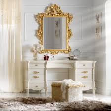 Designer Ivory And Gold Leaf Dressing Table And Mirror Set - Dressing table with mirror designs