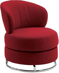 living room round red armless swivel accent chair with back and