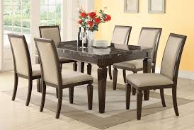 espresso dining room set acme agatha 7pc black marble top rectangular dining room set in