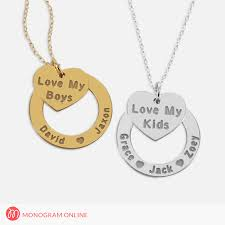 s necklace with names personalized kids name necklace with heart pendant monogram