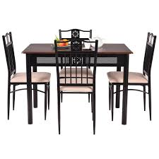 Wood Dining Chairs Costway 5 Piece Dining Set Wood Metal Table And 4 Chairs Kitchen