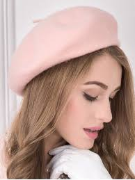 barret hat light pink soft felt wool beanie beret hat rosegal